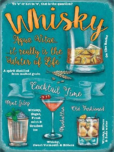 Cartel Metálico, diseño con texto Fun Whisky cóctel recetas ...