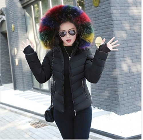 da nero donna largo taglia pelliccia Giacca Chiara M colorata in pelliccia con collo con giacca cappuccio qgw4BBE5O