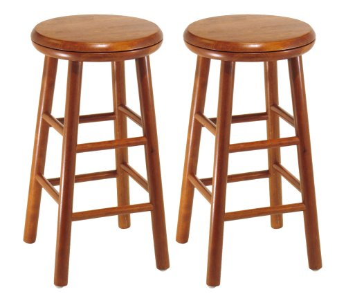 Winsome Wood Assembled 24-Inch Cherry Finish Swivel Stools, Set of 2