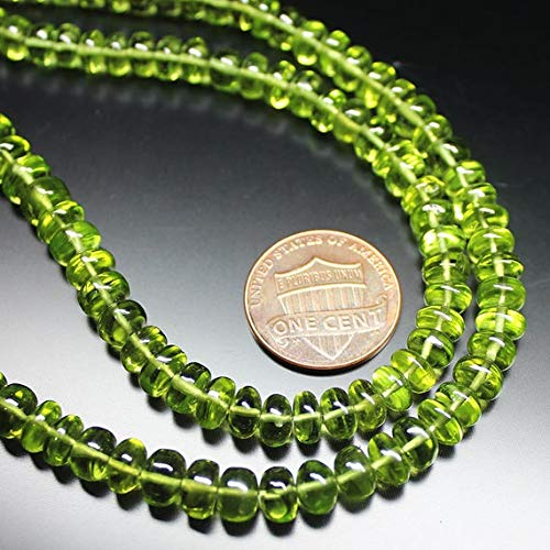 GemAbyss Beads Gemstone Natural Arizona Peridot Smooth Loose Rondelle Gemstone Craft Beads Strand 16 Inch Long 5mm 7mm Code-MVG-21095