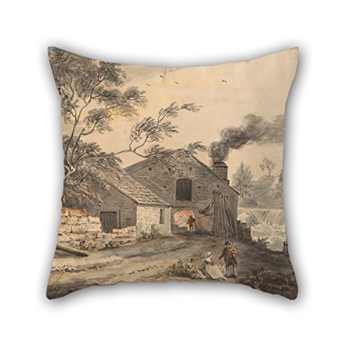 cosbudy 16 X 16 Inches / 40 by 40 cm Oil Painting Paul Sandby - Iron Forge On The River Kent, Westmorland Throw Cushion Covers Each Side is Fit for Boy Friend Monther Home Saloon Gf Coffee House ()