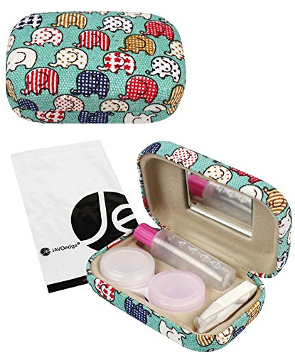 JAVOedge Colorful Cute Elephant Printed Fabric Travel Contact Lens Case Kit