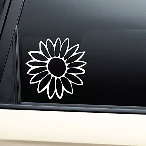 Flower Vinyl Decal Sticker - White- Die Cut Decal Bumper Sticker For Windows, Cars, Trucks, Laptops, Etc. ()