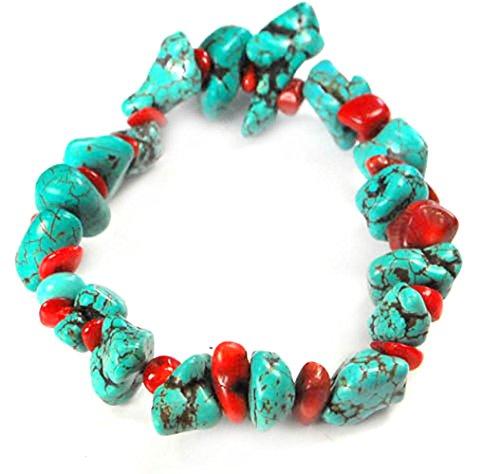 Coral Bracelet Red Chip (Blue Turquoise & Red Coral Stretch Bracelet 8
