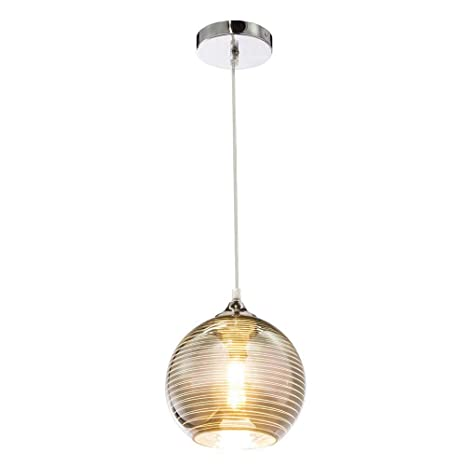Lámpara de techo cromada con líneas decorativas, cristal y ...