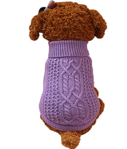 Sunward 2017 Turtleneck Classic Straw-Rope Pet Dog Sweater Apparel (S, Purple)