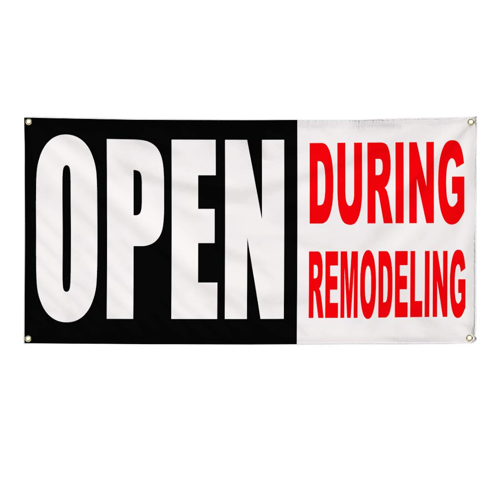 28inx70in Vinyl Banner Sign Open During Remodeling Business Business Marketing Advertising White Multiple Sizes Available Set of 2 4 Grommets