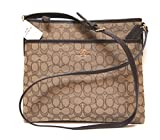 Coach 12CM Signature File Crossbody Bag Khaki/Brown