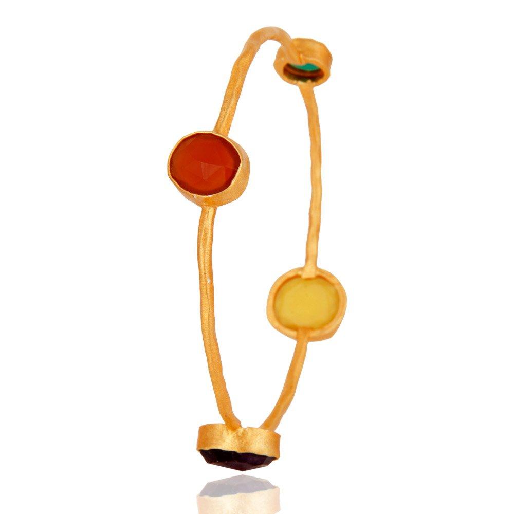 18k Gold Plated Brass Multi Gemstone Stackable Bangle Fashion Jewelry