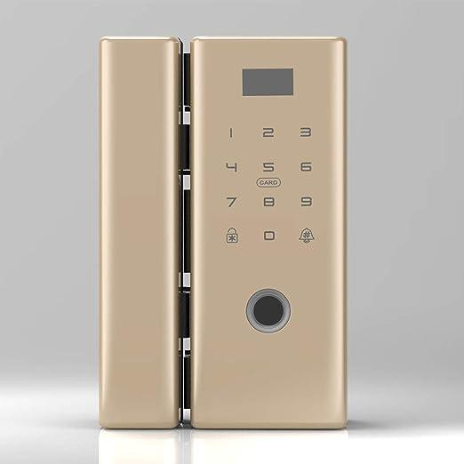 Cerradura de puerta inteligente sin llave para huellas dactilares, cerradura biométrica con contraseña de tarjeta IC para puerta de vidrio sin marco o puerta corrediza,Champagnegoldcolor,C: Amazon.es: Hogar