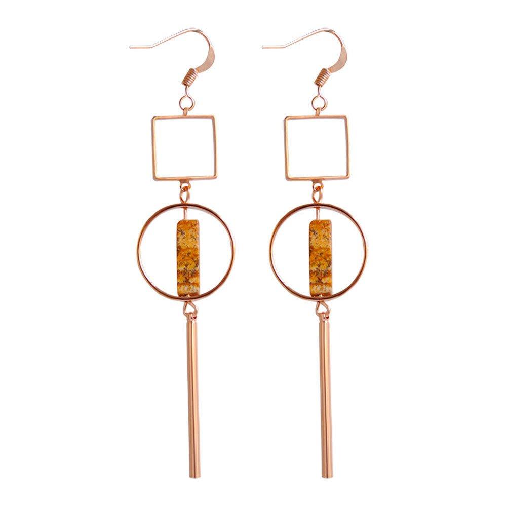 Gold Earrings Geometric Long Style Circle Exaggerated Eardrop Earrings