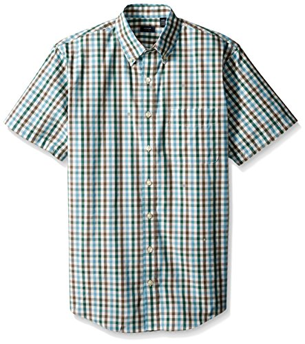 Arrow Men's Big-Tall Short Sleeve Hamilton Poplin Multi Gingham Shirt, Smoke Pine, 4X-Large Tall