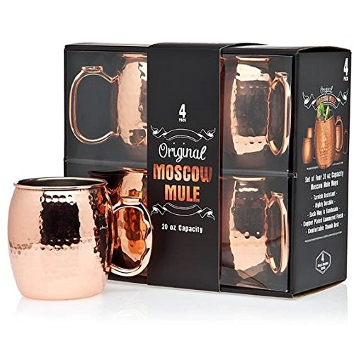 Jacky's Original Handmade Copper Moscow Mule Mug, Gift Set of 4 20 Oz Mugs, Free Recipe Book Included