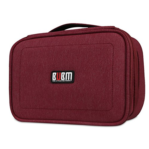 BUBM DPS-L RED Portable Travel Gadget Organizer Double Layers Electronics Accessories Bag Data Wire Storage Package (Red,Large) by BUBM (Image #1)