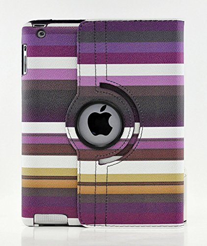 TCD Purple Multi-Color Striped Camouflage 360 Degree Rotating Cover Case PU Leather Case for the new iPad 4 (Striped Ipad Mini Case)