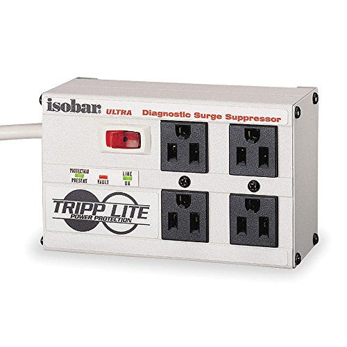 Tripp-Lite ISOBAR4ULTRA Tripp-Lite, Isobar Ultra Surge Protector Suppressor with Modem Fax 4 Outlets 6Ft. Cord Led S 2200 Joules