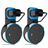 Amazon Echo dot 2nd Outlet Wall Mount Hanger Holder Stand for Amazon Echo Dot 2nd Generation (Short Cable Included) Plug in Kitchens, Bathroom and Bedroom (Black 2 Pack)