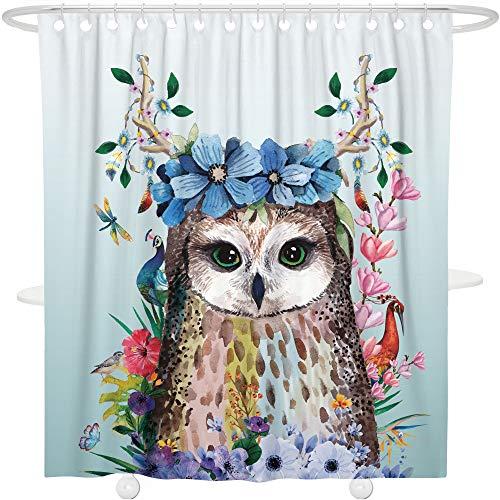 Bonsai Tree Art Animal Bird Fabric Shower Curtain,Waterproof Polyester Owl Purple Floral Turquoise Bath Curtain with Hooks,72