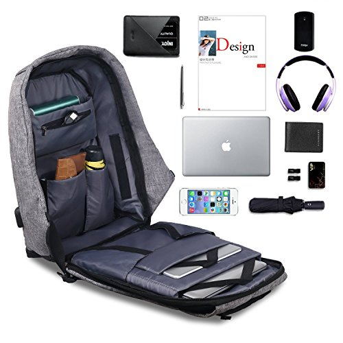 Laptop Backpack - Business Travel computer Backpack with USB Charging Port and Reflective Tape Perfect for Student, Men & Women