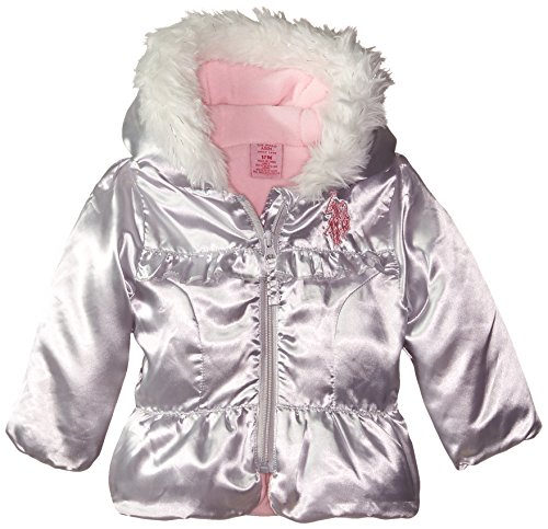 U.S. Polo Assn. Baby-Girls Bubble Jacket, Silver, 24 Months