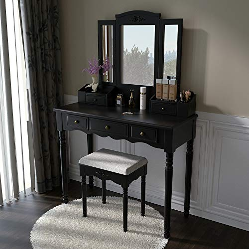- Vanity Stool Set, Make Up Table with 5 Drawers, Tri-Folding 3 Mirrors, Cushioned Stool Easy Assemble Black
