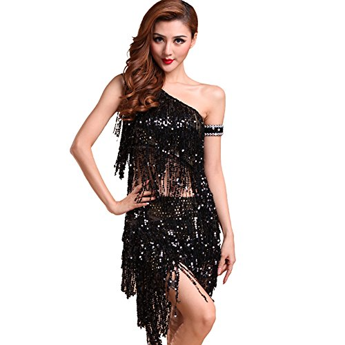 [Loveble Ladies Latin Dance Costume Sequins Skirt Dress Sets] (Chacha Dance Costume)