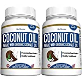 Organic Virgin Coconut Oil Capsules - Promotes Weight Loss Hair Growth and Reduces Acne Skin Blemishes Metabolic Energy - 2 Bottles - Made in USA and 3rd Party Lab Certified