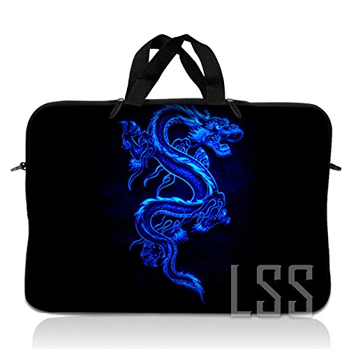LSS 10 10.2 inch Laptop Sleeve Bag Compatible with Acer, Asus, Dell, HP, Sony, MacBook and more | Carrying Case Pouch w/ Handle , Blue Dragon (Samsung Chromebook 2 11-6 Inch Classic White)