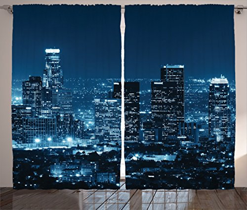Ambesonne Apartment Decor Collection, Los Angeles Buildings at Night Monochromatic Photo Scenery Town Dusk Scenic, Living Room Bedroom Curtain 2 Panels Set, 108 X 84 Inches, Dark Teal Navy Bue