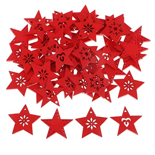 Fenteer 50 Pieces Wood Star Slices Wooden Carved Snowflakes Crafts Christmas Tree Hanging Decorations Scrapbooking Card Making Embellishments 30x30x2mm - red