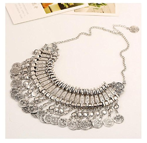 [Fariishta Jewelry Multilayer Metal Coin Carved Tassel Pendant Necklace£¨sliver£©] (Latin Themed Party Costume)