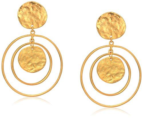 Satin Womens Earring (Kenneth Jay Lane Satin Gold Coin Drop Earrings)
