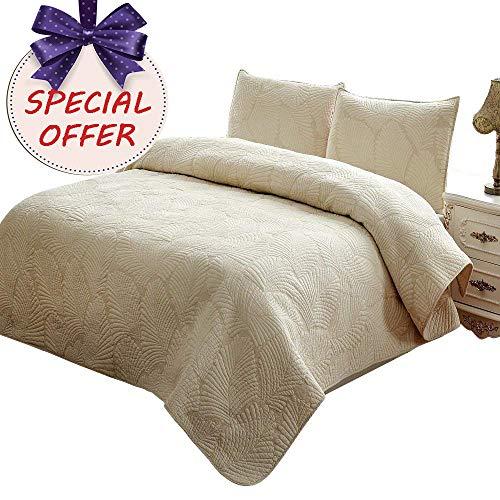 (Brandream King Size Quilt Set Beige Palm Embroidery Quilted Comforter Set 100% Cotton Lightweight Summer Quilt Blanket Set 3 Piece )
