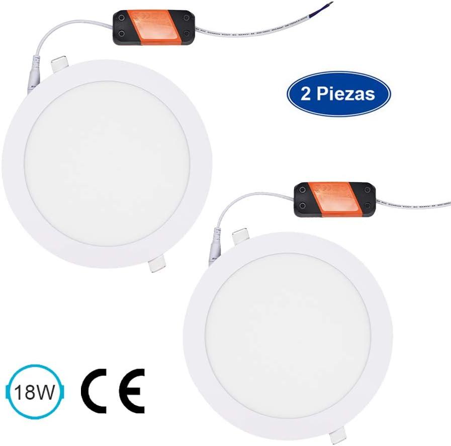 Foco empotrable led techo,EXTRASTAR Iluminacion 18W downlight redondo extraplano, 6500K (6500K, 18W)
