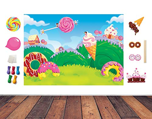 Candy Land Theme Photo Booth Backdrop and Props - Photography Candy Land Backdrop for Parties | Candy Birthday Party Decorations for Girls & Candy Birthday Party Supplies | 17 Piece - Custom Birthday Hat Party