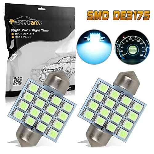 Partsam 2x Ice Blue 12SMD Epistar LED Bulbs for Car Interior Dome Map Lights DE3175 3021 3022 31mm Festoon LED Lamps 12V
