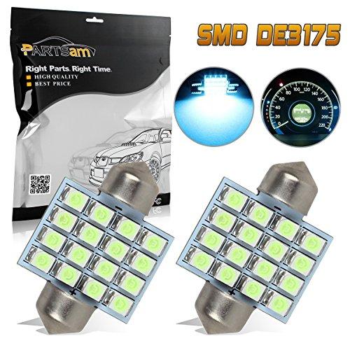 Partsam 2X Ice Blue LED Bulbs for Car Interior Dome Map Lights DE3175 3021 3022 31mm Festoon LED Lamps 12V