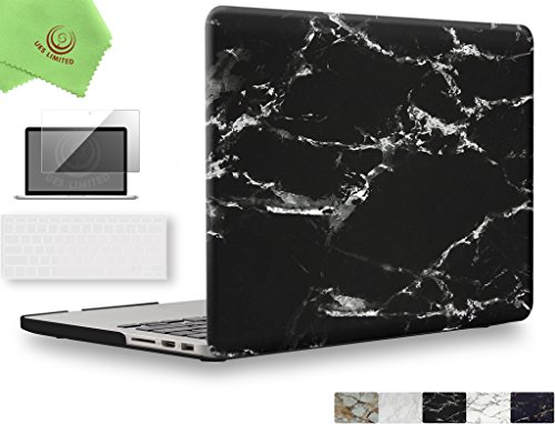 UESWILL 3in1 Marble Pattern Smooth Soft-Touch Hard Shell Case Cover for MacBook Pro 15