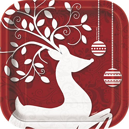 Square Frosted Holiday Dessert Plates, 10ct ()