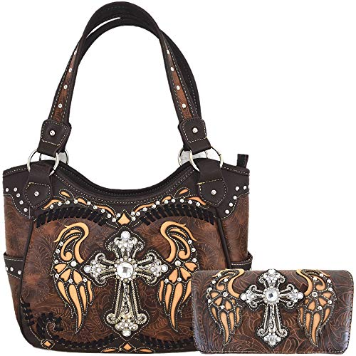 Western Style Cross Laser Cut Wings Purse Concealed Carry Handbags Women Country Shoulder Bag Wallet Set (#4 Brown Set) (Western Purse Rhinestone)