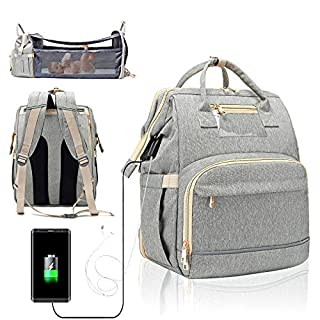 3 in 1 Travel Foldable Portable Baby Bed Waterproof Diaper Bag Mommy Backpack Changing Station with Sunshade, USB Charging Port and Headphone Port [2020 Premium Version](Gray)