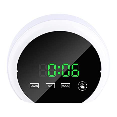 Reloj Despertador Digital Termómetro Portátil Reloj de Mesa Digital Colorido LED Luz Nocturna con Doble Puerto