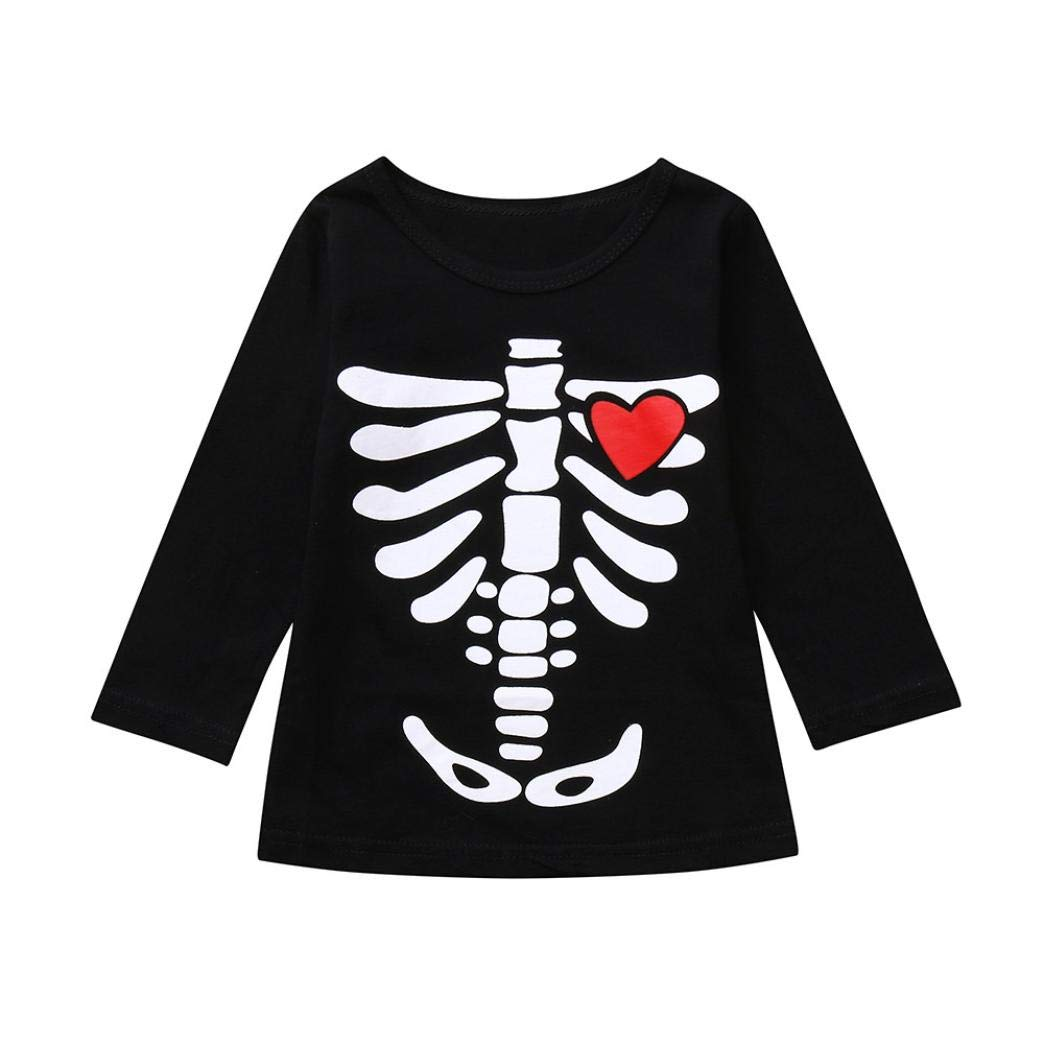 HUKZ Baby Mädchen Druck Lange Ärmel T-Shirt Tops-Skelett Print Tops Halloween Kostüm Outfits Set (Rot, 130) Hukezhu