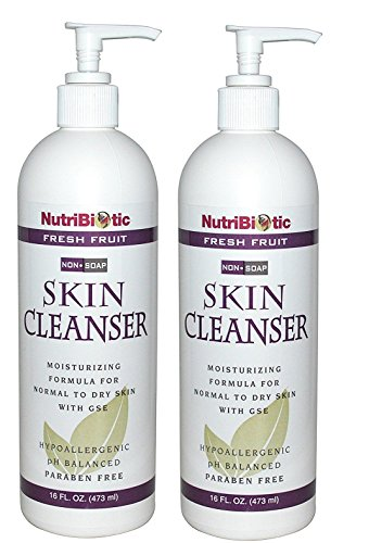 NutriBiotic Fresh Fruit Nonsoap Skin Cleanser (Pack of 2) with Comfrey Leaf, Grapefruit Seed Extract, Comfrey Leaf and Matricaria, 16 fl. (Nutribiotic Non Soap Skin Cleanser)