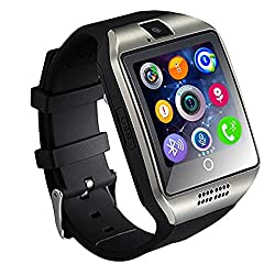 Smart Watch Phone,OURSPOP Bluetooth SmartWatch Unlocked Watch Cell Phone with 1.54inch Round Touch Screen GSM 2G SIM Card Pedometer Sleep Monitor Remote Sync for Android iPhone