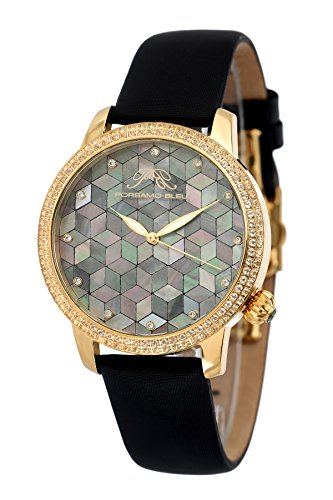 - Porsamo Bleu Luxury Evelyn Satin Covered Genuine Leather Band Women's Watch with Topaz Gemstones and Mosaic Mother-of-Pearl Dial 763BEVS