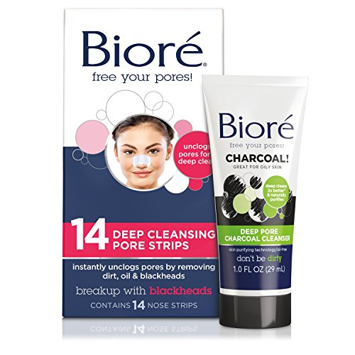 Bioré Deep Cleansing Pore Strips (14 Count) + Mini Bioré Deep Pore Charcoal Cleanser for Oily Skin, 1 Ounce (Ponds White Beauty Face Wash For Men)