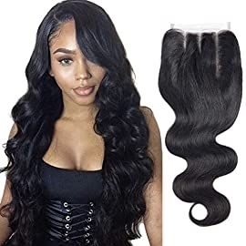 Brazilian Virgin Hair Body Wave Lace Closure Unprocessed Human Hair Lace Closure Middle Part Closure (14 inch, Body)