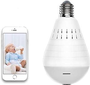 Light Bulb Security Camera WiFi,1080P Wireless Security Camera Bulb,2MP Fisheye 360° Panoramic Remote Light Cameras/Motion Detection/Night Light