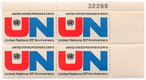- United Nations 25th Anniversary; 6 Cents - Plate Block of (4) US Postage Stamps
